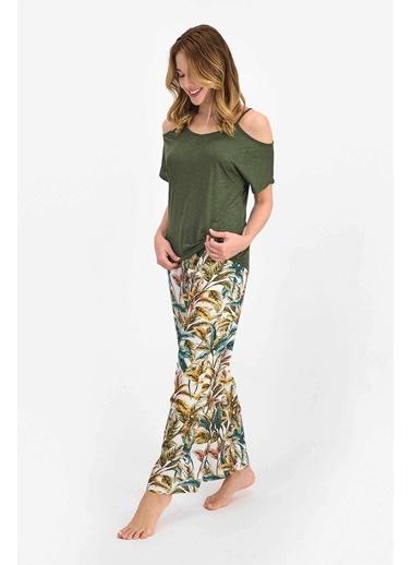 Arnetta Floral Pattern Haki Kadın Kısa Kol Pijama Takımı Haki